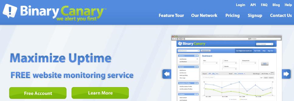 binarycanary servicios gratuitos para monitorizar una web