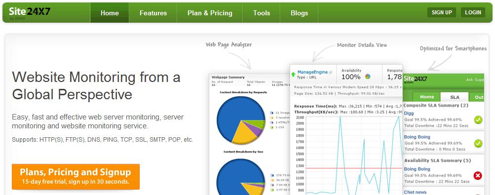 site24x7 servicios gratuitos para monitorizar una web