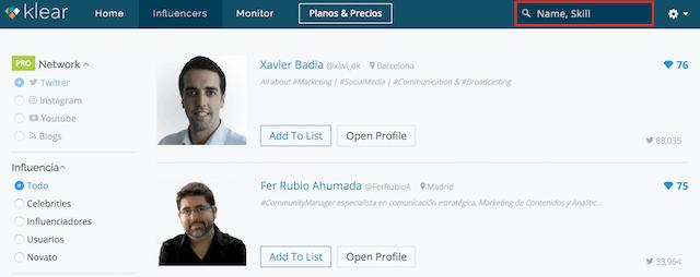 klear herramienta buscar influencers twitter