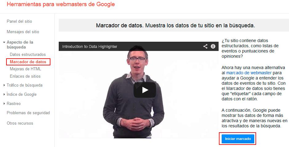 marcador de datos de google webmaster tools