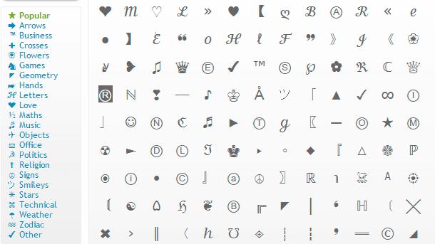 web de simbolos