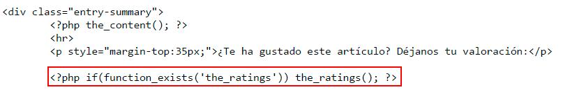 wp postratings código