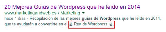 código en la descripción de google