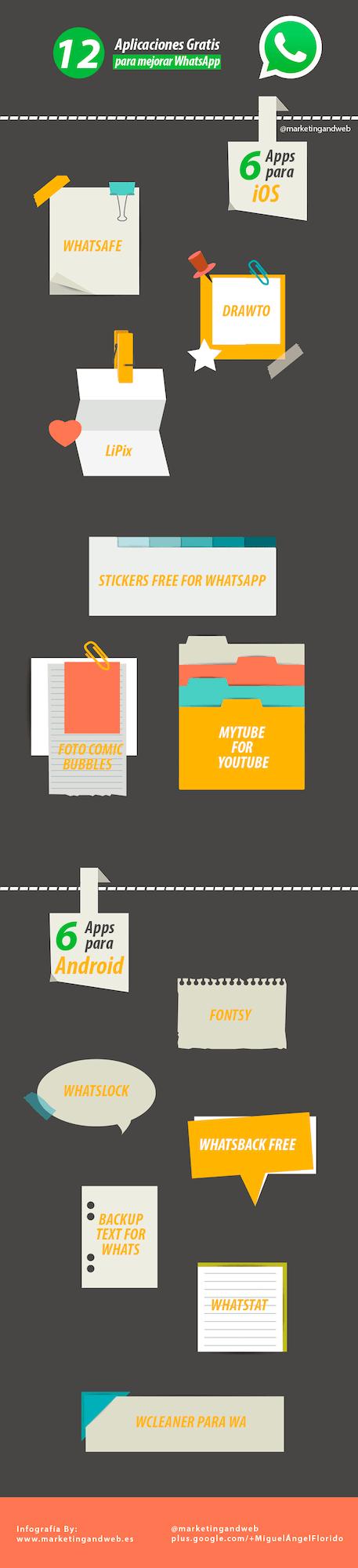12 aplicaciones gratuitas para whatsapp infografia