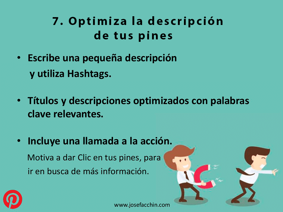 optimiza la descripcion de tus pines