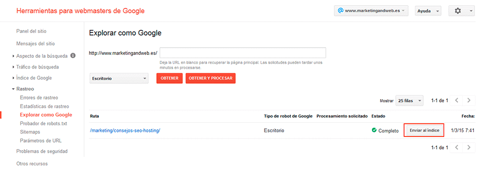enviar indice a google