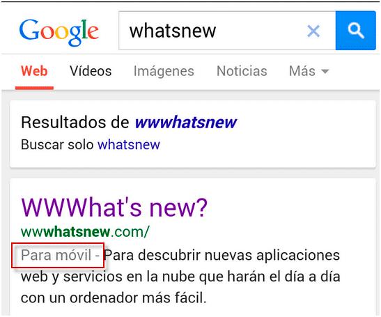 versión móvil búsqueda google