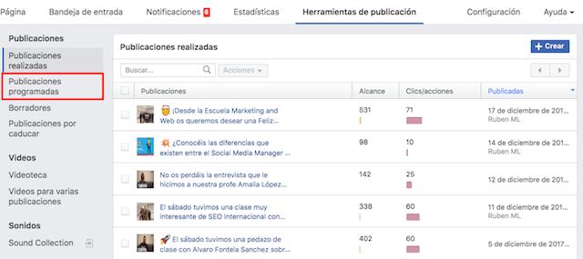 como programar contenido en facebook