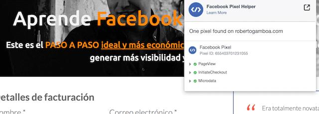 comprobar pixel facebook