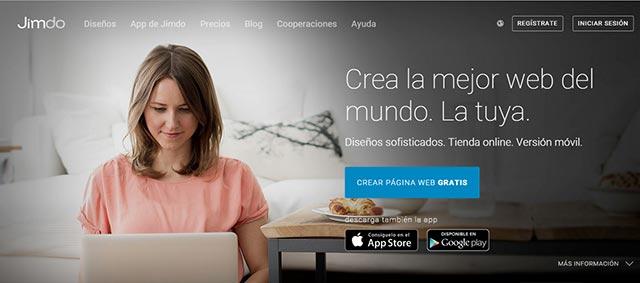 plataforma gratis para crear una web jimdo