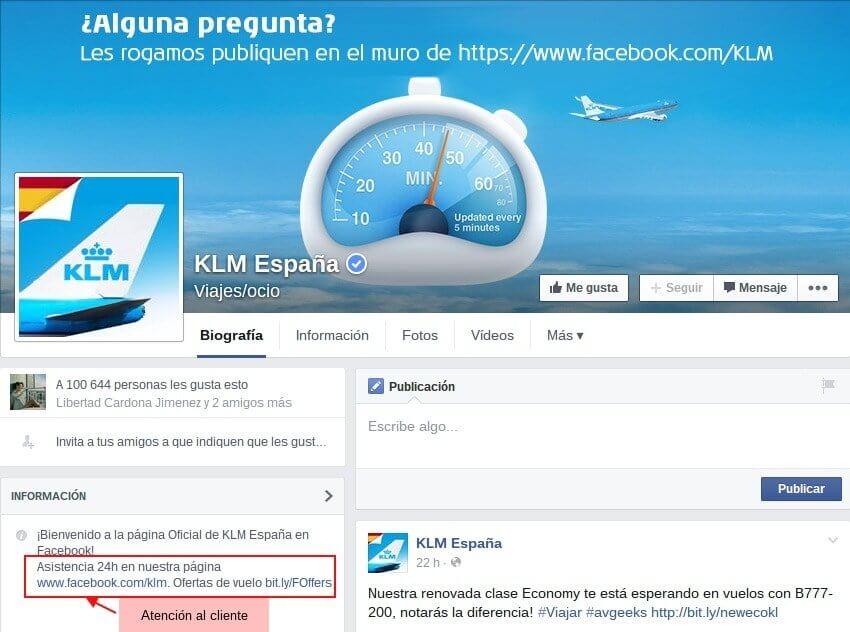 Facebook KLM Página principal