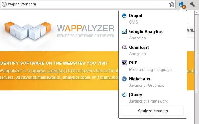 extension chrome wappalyzer