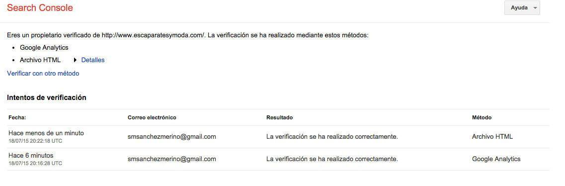 varios metodos verificacion webmaster tools