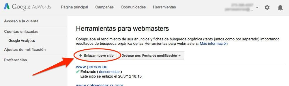 enlazar adwords search console