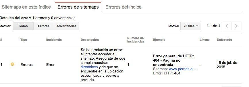 errores sitemap