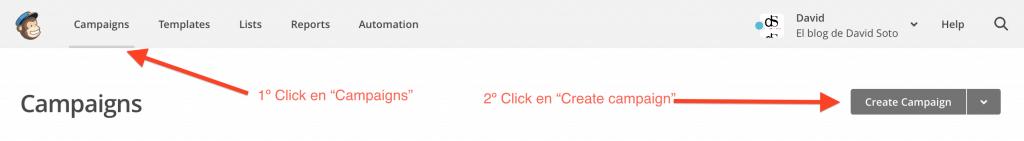 Crear la primera campaña newsletter mailchimp