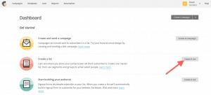 Crear lista mailchimp