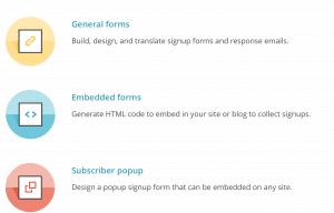 Tipos de formulario registro mailchimp