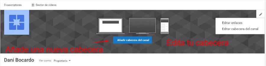 editar cabecera canal youtube