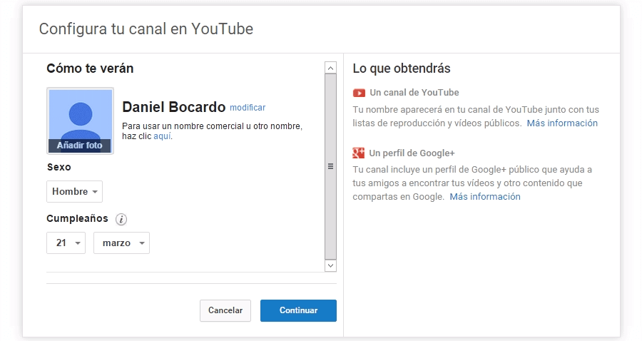 entrando en el canal de youtube