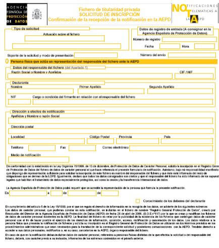 inscripción fichero