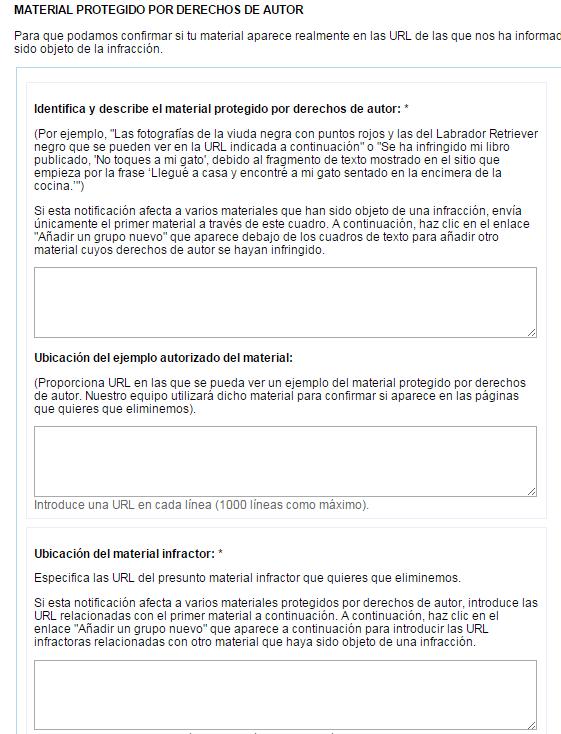 formulario denuncia contenido plagiado