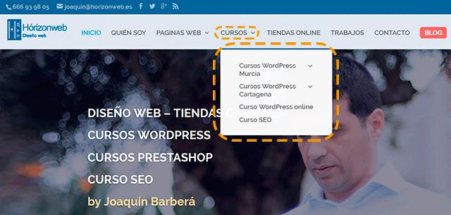 productos servicio pagina web corporativa