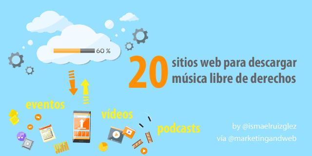 20 páginas web para descargar música libre de derechos para usar en vídeos, podcasts, eventos y más.