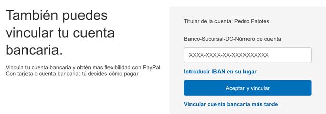 paypal cuenta bancaria