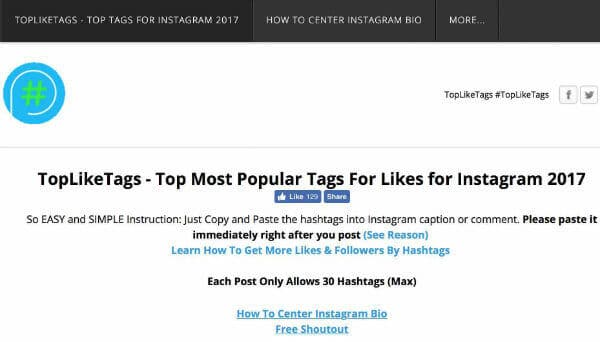 top like tags instagram 2017