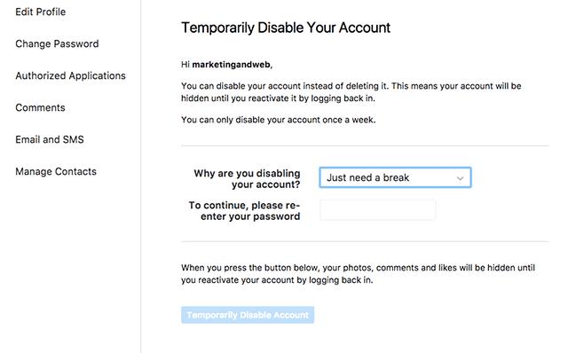 desactivar temporalmente cuenta de instagram