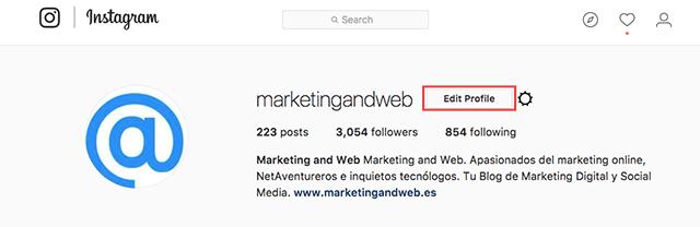 editar perfil instagram
