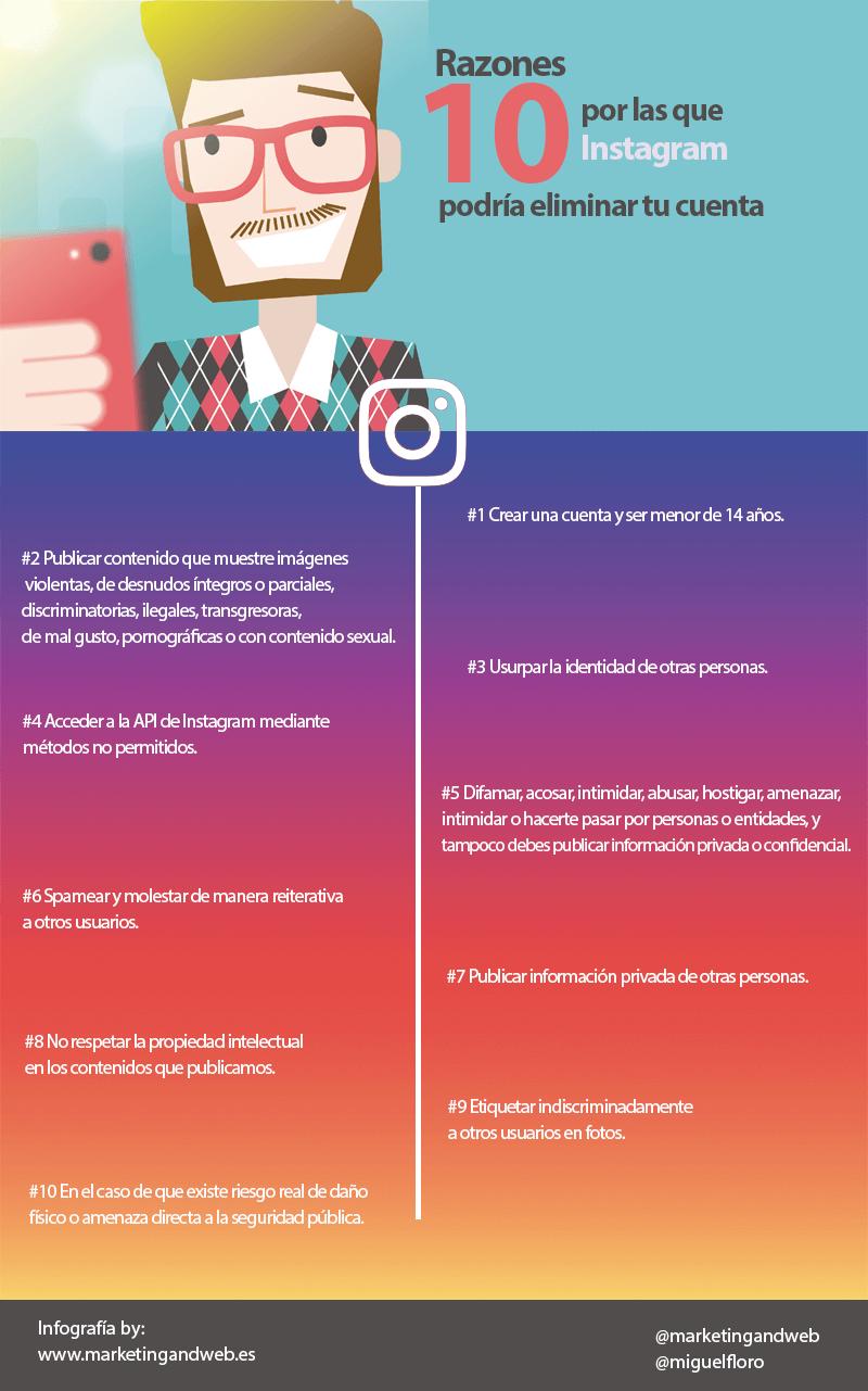 razones instagram eliminar cuenta