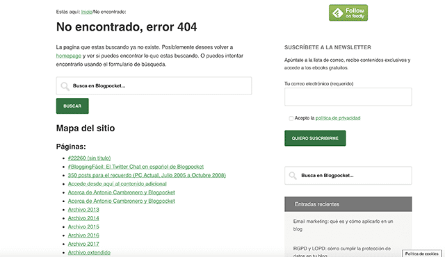 Ejemplo de error 404 Blogpocket