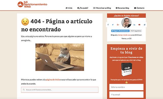 Ejemplo de error 404 Ruben Alonso