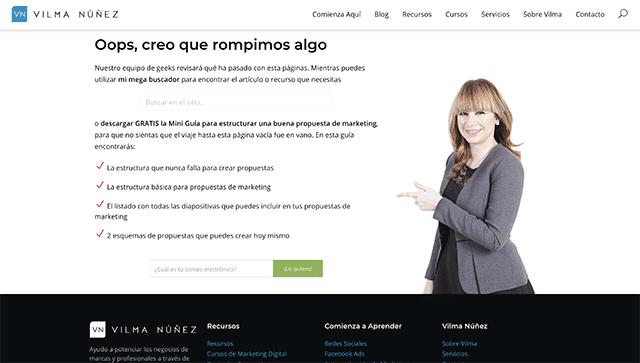 Ejemplo error 404 de Vilma Núñez
