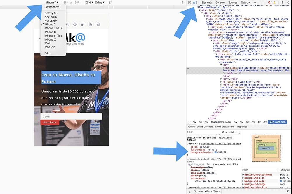 Editar CSS web para móvil