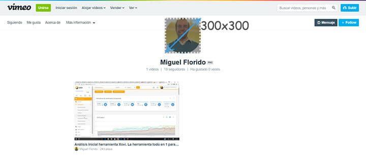Medidas Vimeo