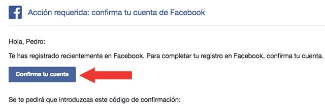 confirmar cuenta de facebook