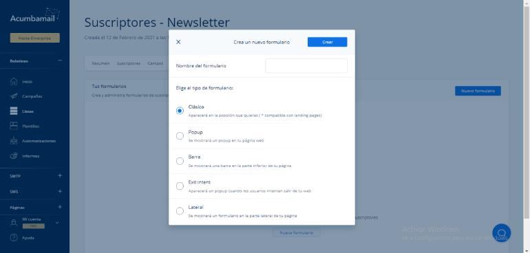 Crear formularios de suscripcion para la newsletter