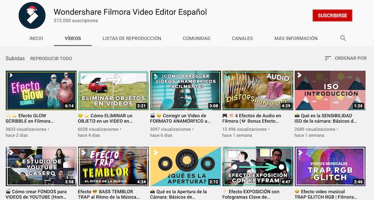 Canal de Youtube de Filmora