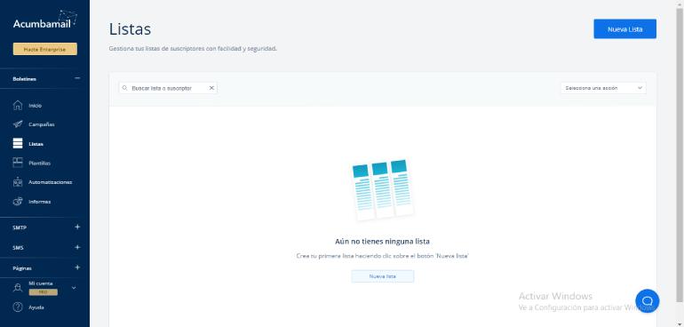 Crear listas de suscriptores en acumbamail